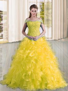 Charming Organza Sleeveless Sweet 16 Dresses Sweep Train and Beading and Lace and Ruffles