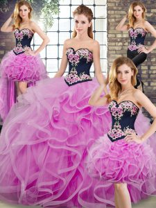 Fashion Lilac Lace Up Sweetheart Sleeveless Sweet 16 Quinceanera Dress Sweep Train Embroidery and Ruffles