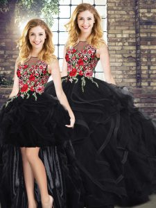 Stylish Ball Gowns Vestidos de Quinceanera Black Scoop Sleeveless Floor Length Zipper