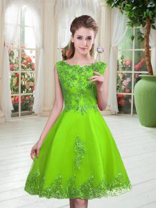 Pretty Lace Up Scoop Beading and Appliques Tulle Sleeveless