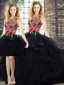 Black Bateau Neckline Beading and Embroidery 15th Birthday Dress Sleeveless Lace Up