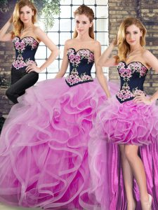 Tulle Sweetheart Sleeveless Sweep Train Lace Up Embroidery and Ruffles 15 Quinceanera Dress in Lilac