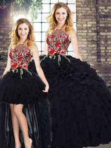 Black Sleeveless Floor Length Embroidery and Ruffles Zipper Sweet 16 Dress
