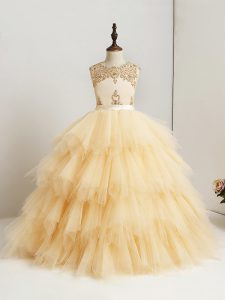 Sleeveless Tulle Floor Length Zipper Little Girl Pageant Gowns in Gold with Beading and Ruffles