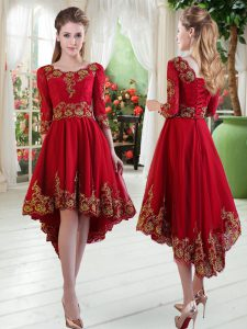 Romantic Wine Red A-line Satin Scoop Long Sleeves Embroidery High Low Lace Up Dress for Prom