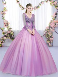 Eye-catching Long Sleeves Floor Length Lace and Appliques Lace Up Sweet 16 Dresses with Lilac