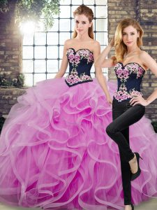 Amazing Tulle Sleeveless Floor Length Quinceanera Gowns Sweep Train and Embroidery and Ruffles