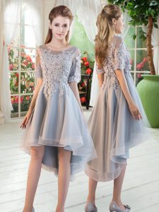 Flare Grey Lace Up Dress for Prom Appliques Half Sleeves High Low