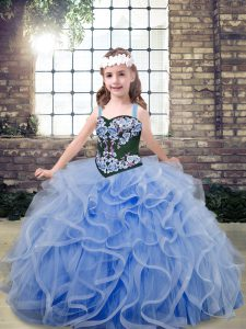 Superior Light Blue Lace Up Straps Embroidery and Ruffles Pageant Gowns For Girls Tulle Sleeveless