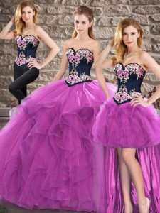 Tulle Sleeveless Floor Length Ball Gown Prom Dress and Beading and Embroidery