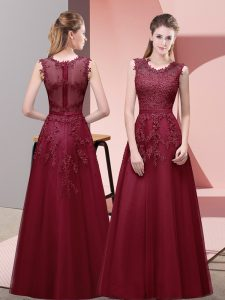 Sleeveless Floor Length Lace and Appliques and Belt Zipper Homecoming Dress with Burgundy