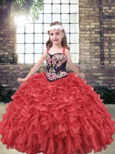 Red Organza Lace Up Straps Sleeveless Floor Length Little Girls Pageant Dress Wholesale Embroidery and Ruffles