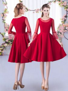 Excellent Red 3 4 Length Sleeve Ruching Knee Length Vestidos de Damas
