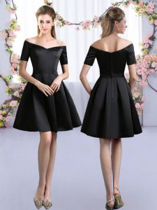 Short Sleeves Mini Length Ruching Zipper Dama Dress with Black