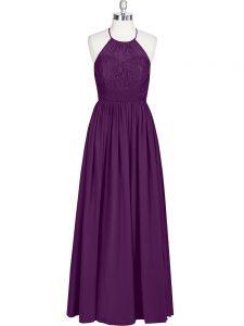 Eggplant Purple A-line Lace Prom Gown Zipper Chiffon Sleeveless Floor Length