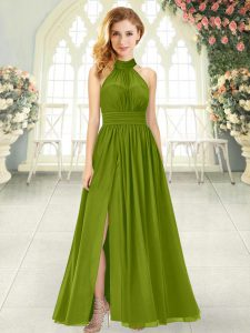 Luxury Olive Green Chiffon Zipper Prom Dresses Sleeveless Ankle Length Ruching