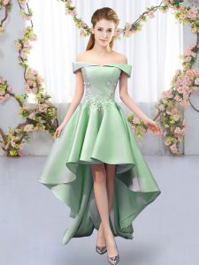 Classical Sleeveless High Low Appliques Lace Up Vestidos de Damas with Green