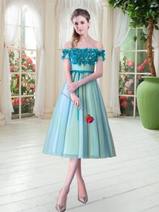 Adorable Aqua Blue A-line Tulle Off The Shoulder Sleeveless Appliques Tea Length Lace Up Prom Dress