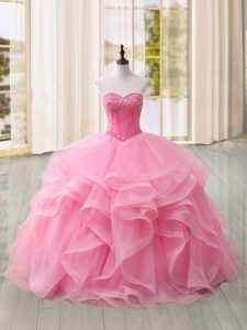 New Style Pink Sleeveless Beading and Ruffles Lace Up Quinceanera Gown