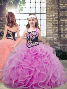 Custom Fit Lilac Lace Up Little Girls Pageant Dress Embroidery and Ruffles Sleeveless Floor Length