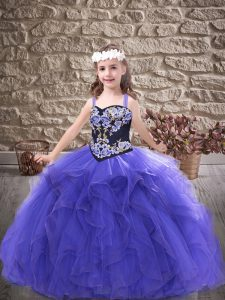 Custom Made Tulle Straps Sleeveless Lace Up Embroidery and Ruffles Kids Formal Wear in Purple
