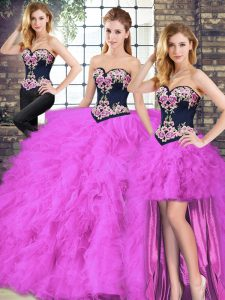 Spectacular Sleeveless Tulle Floor Length Lace Up Quinceanera Gowns in Fuchsia with Beading and Embroidery