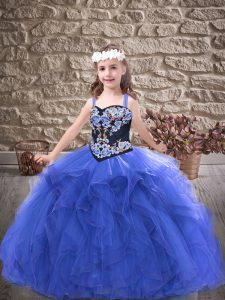 Nice Floor Length Royal Blue Little Girl Pageant Gowns Tulle Sleeveless Embroidery and Ruffles