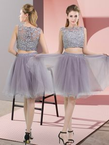 Tulle Sleeveless Prom Dresses and Beading and Lace