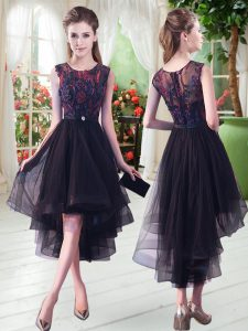 Graceful Black A-line Tulle Scoop Sleeveless Appliques High Low Zipper Prom Gown