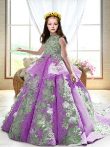 Lilac High-neck Backless Appliques Pageant Gowns For Girls Court Train Sleeveless