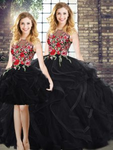 Scoop Sleeveless Vestidos de Quinceanera Floor Length Embroidery and Ruffles Black