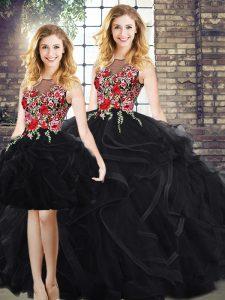 Scoop Sleeveless Vestidos de Quinceanera Floor Length Embroidery and Ruffles Black