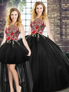 Gorgeous Black Zipper Quince Ball Gowns Sleeveless Floor Length Embroidery