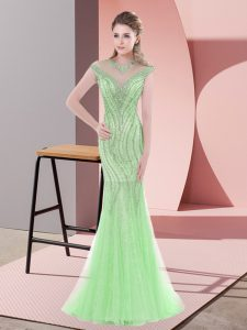 Apple Green Mermaid Tulle Scoop Cap Sleeves Beading Zipper Prom Dress Sweep Train