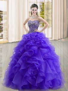 Fabulous Sleeveless Organza Floor Length Lace Up Ball Gown Prom Dress in Purple with Beading and Ruffles