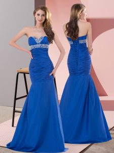 Comfortable Mermaid Prom Dress Blue Sweetheart Satin Sleeveless Floor Length Lace Up