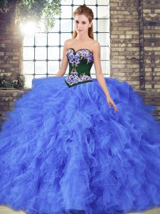 Fitting Floor Length Ball Gowns Sleeveless Blue Sweet 16 Quinceanera Dress Lace Up