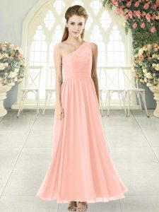 Pink Sleeveless Ankle Length Lace Side Zipper Prom Dresses