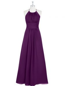 Discount Sleeveless Chiffon Floor Length Zipper Prom Evening Gown in Eggplant Purple with Ruching