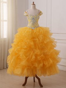 Gold Off The Shoulder Neckline Beading and Ruffled Layers Pageant Gowns For Girls Sleeveless Lace Up