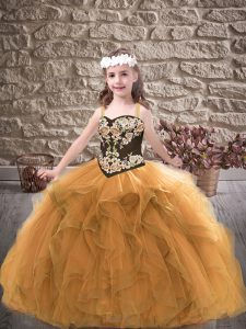 Gold Ball Gowns Straps Sleeveless Tulle Floor Length Lace Up Embroidery and Ruffles Little Girl Pageant Dress