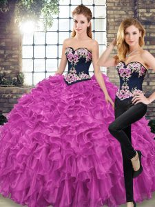 Fine Fuchsia Organza Lace Up Sweetheart Sleeveless Vestidos de Quinceanera Sweep Train Embroidery and Ruffles