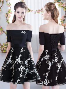 Cheap Black A-line Off The Shoulder Short Sleeves Organza Mini Length Lace Up Appliques Quinceanera Court Dresses