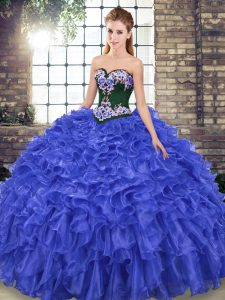 Deluxe Sleeveless Embroidery and Ruffles Lace Up 15 Quinceanera Dress with Royal Blue Sweep Train