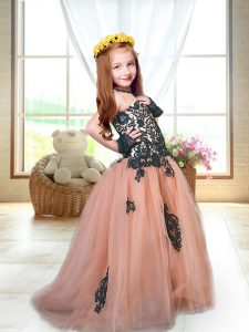 Dazzling Tulle Spaghetti Straps Sleeveless Brush Train Lace Up Appliques Pageant Gowns For Girls in Peach
