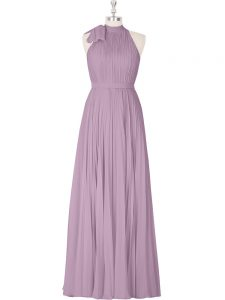Floor Length Purple Prom Gown Sleeveless Ruching