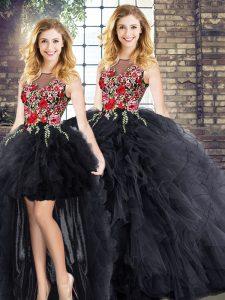 Graceful Scoop Sleeveless Zipper Vestidos de Quinceanera Black