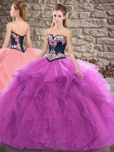 Enchanting Purple Sleeveless Floor Length Beading and Embroidery Lace Up Sweet 16 Quinceanera Dress