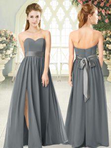 Hot Selling Grey Sweetheart Zipper Belt Prom Dresses Sleeveless