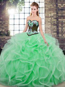 Apple Green Sleeveless Sweep Train Embroidery and Ruffles 15 Quinceanera Dress